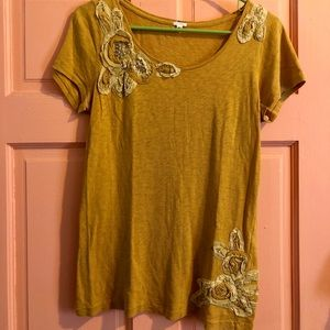 Gold J Crew Tee with Flower Detailing